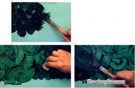 Декорирование красками под малахит и мрамор