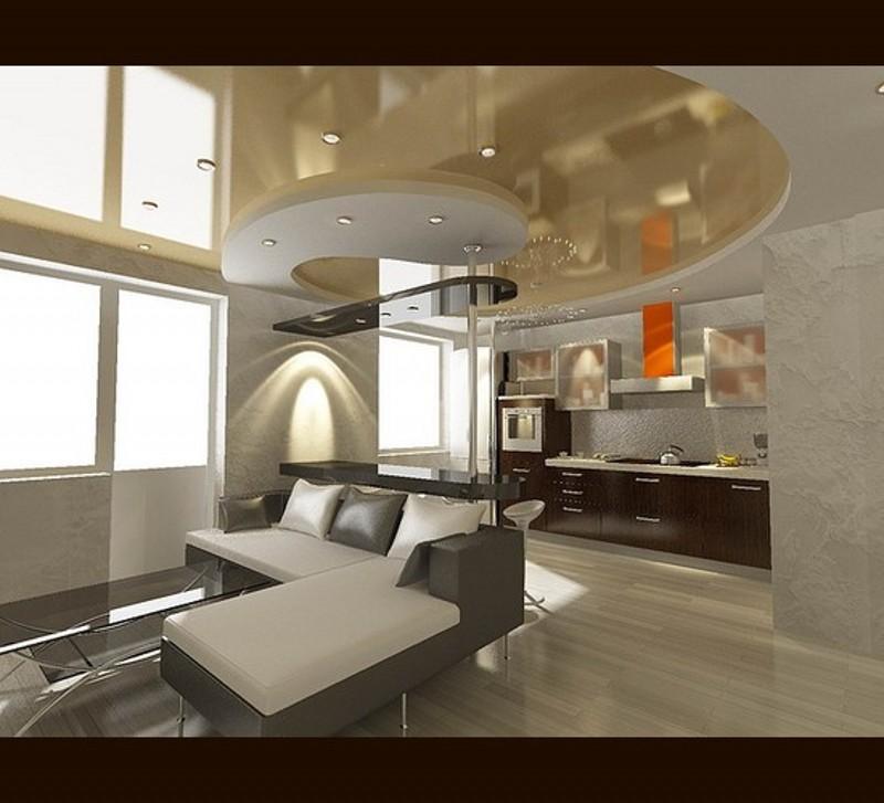 Натяжные потолки фото кухня гостиная