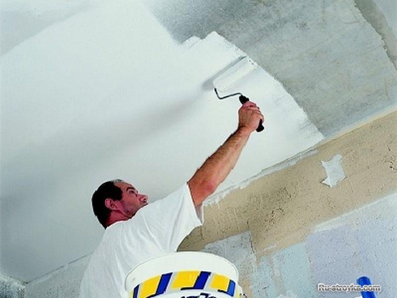 Как побелить потолок водоэмульсионной краской своими руками 6