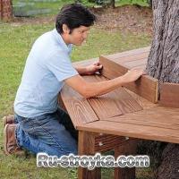 Как построить скамейку под деревом.