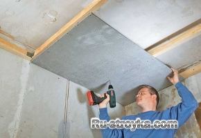 Ванная комната – потолок из ЦСП