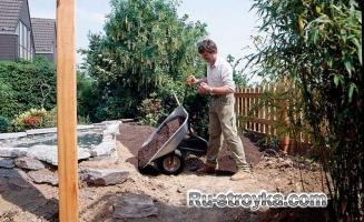 Изготовление декоративного пруда из природного камня.