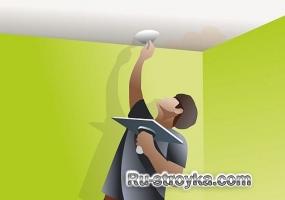 Покраска потолка после подтека воды.